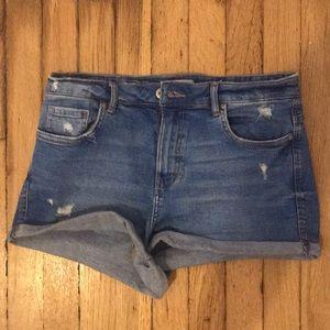 Zara Light Blue Denim Mini Shorts (Worn Once)